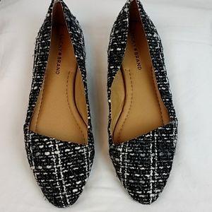 Lucky Brand Black/Gray/White Tweed Flats 8.5